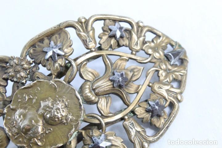 Joyeria: Gran broche adorno victoriano, bronce y estrellas de metal. Original de época, s XIX - Foto 5 - 194754950