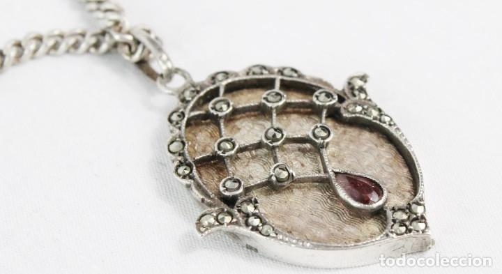 Joyeria: Bellísimo colgante en plata con marcasitas y amatista, epoca eduardiana años 1900. Cadena de plata - Foto 6 - 194756328