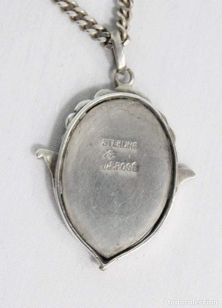 Joyeria: Bellísimo colgante en plata con marcasitas y amatista, epoca eduardiana años 1900. Cadena de plata - Foto 4 - 194756328