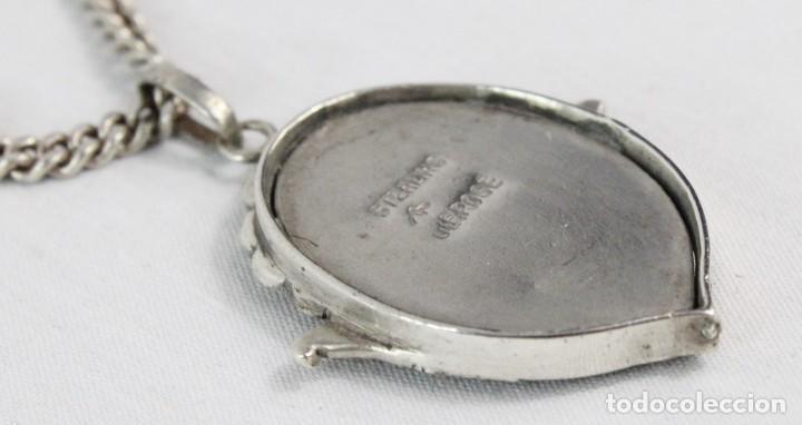 Joyeria: Bellísimo colgante en plata con marcasitas y amatista, epoca eduardiana años 1900. Cadena de plata - Foto 5 - 194756328