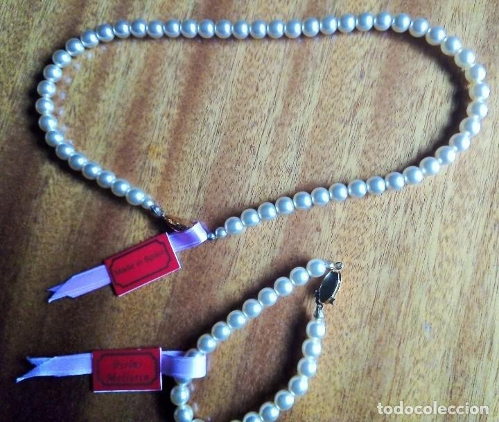 Joyeria: Collar y pulsera a juego. Perles Mallorca con broches dorados o chapados en oro. - Foto 5 - 194874235