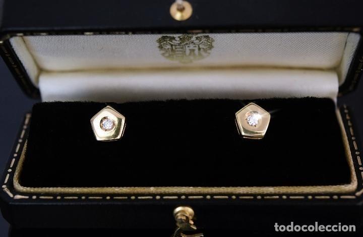 Joyeria: LIQUIDACIÓN - PENDIENTES DORMILONAS CON DOS BELLOS DIAMANTES TALLA BRILLANTE Y ORO LEY DE 18K. - Foto 9 - 195009175