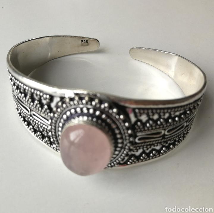 Joyeria: Brazalete pulsera ajustable con Cuarzo rosa - 35gr. - Foto 4 - 195013747