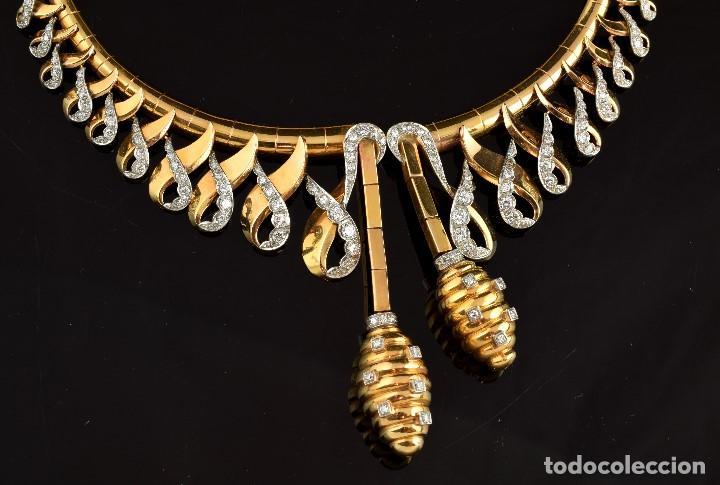 """Joyeria: Collar """"Col Chemise"""", en oro rosa de l8k y platino, con decoración de diamantes talla sencilla 8/8 . - Foto 2 - 195163953"""