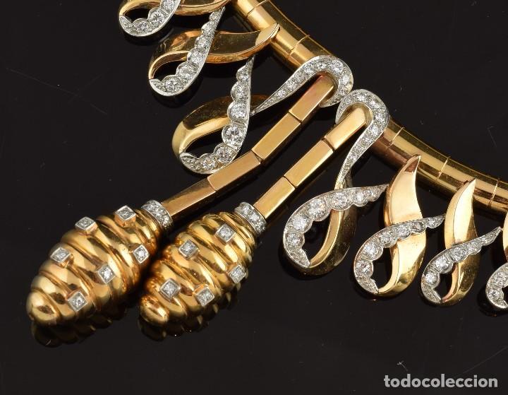 """Joyeria: Collar """"Col Chemise"""", en oro rosa de l8k y platino, con decoración de diamantes talla sencilla 8/8 . - Foto 3 - 195163953"""