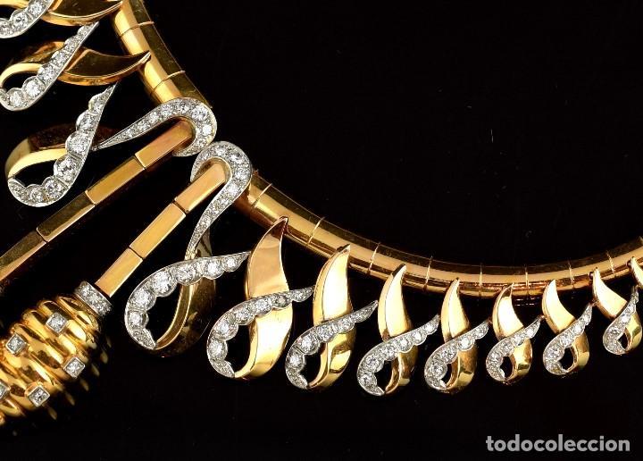 """Joyeria: Collar """"Col Chemise"""", en oro rosa de l8k y platino, con decoración de diamantes talla sencilla 8/8 . - Foto 4 - 195163953"""