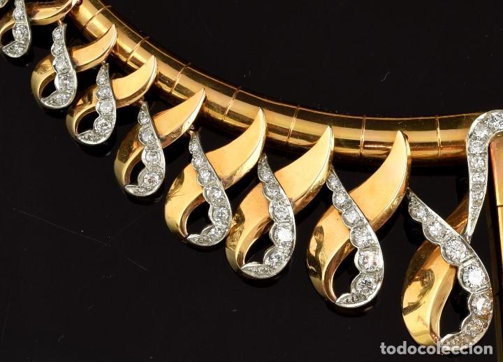 """Joyeria: Collar """"Col Chemise"""", en oro rosa de l8k y platino, con decoración de diamantes talla sencilla 8/8 . - Foto 5 - 195163953"""