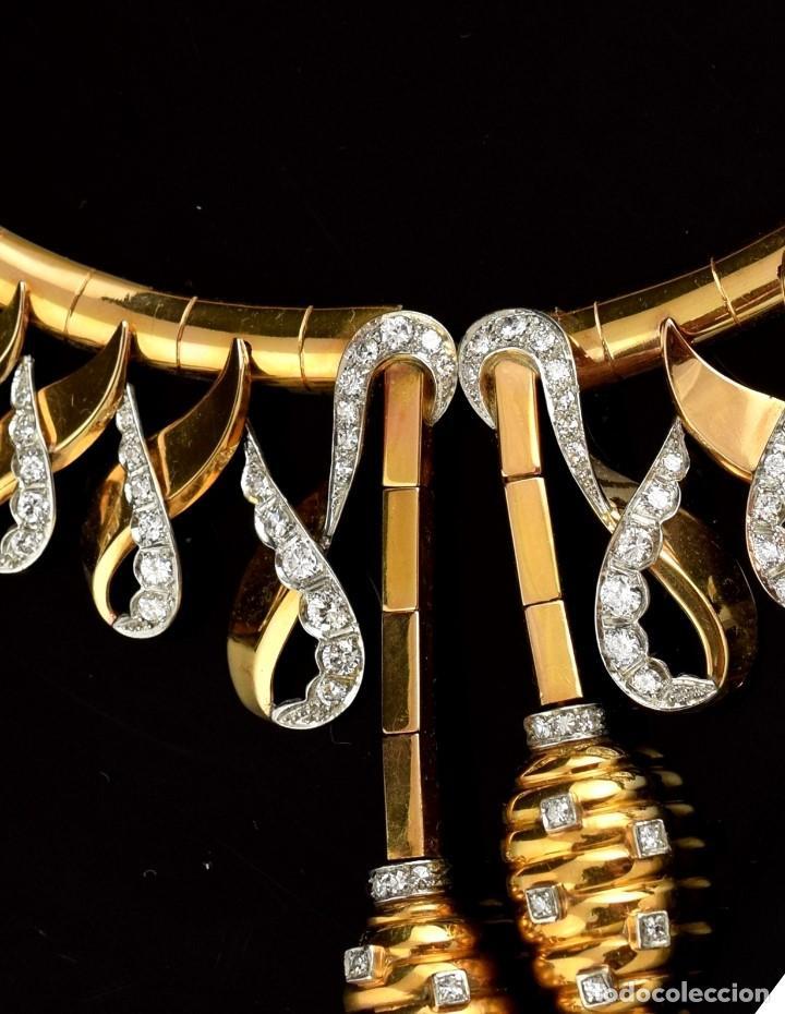 """Joyeria: Collar """"Col Chemise"""", en oro rosa de l8k y platino, con decoración de diamantes talla sencilla 8/8 . - Foto 6 - 195163953"""
