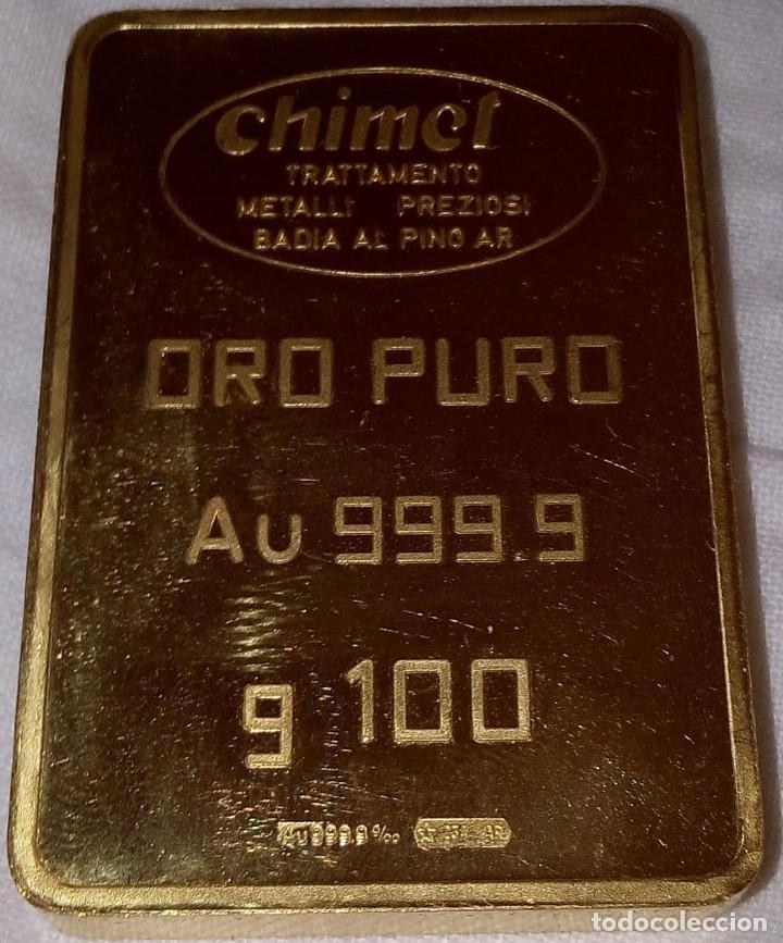 LINGOTE ORO PURO FINO 24 K 999.9 100 GRAMOS 100% NUEVO, SALIDO DE LA REFINERÍA (Joyería - Varios)