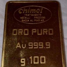 Joyeria: LINGOTE ORO PURO FINO 24 K 999.9 (100 GR) 100% NUEVO, SALIDO DE LA REFINERÍA. Lote 195205918