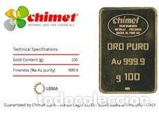 Joyeria: Lingote Oro puro fino 24 K 999.9 100 gramos 100% nuevo, salido de la Refinería - Foto 2 - 195205918