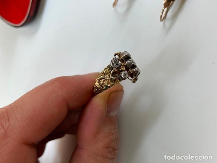 Joyeria: conjunto de pendientes y anillo del XIX en diamantes y oro 18 k - Foto 2 - 195233810