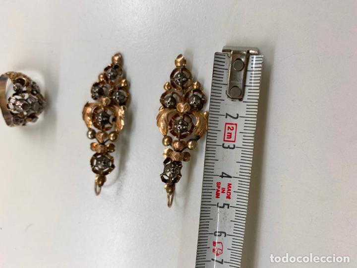 Joyeria: conjunto de pendientes y anillo del XIX en diamantes y oro 18 k - Foto 5 - 195233810