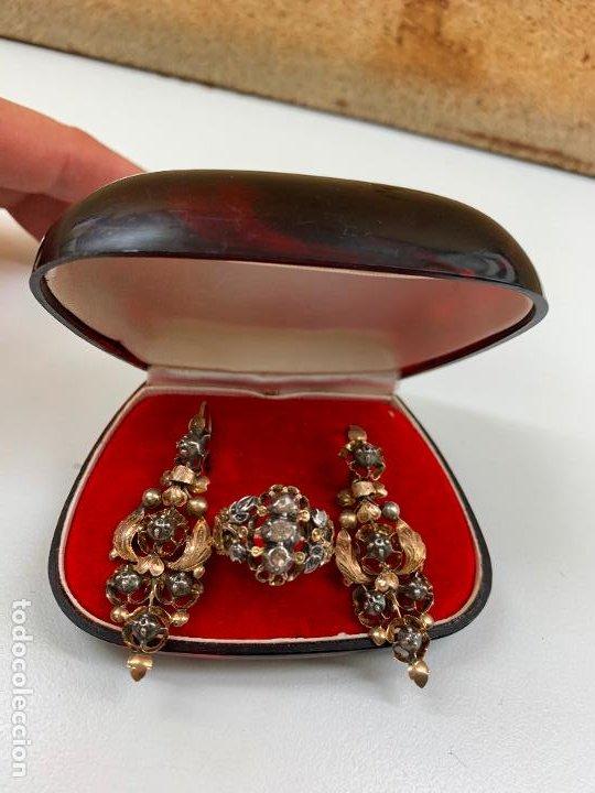 Joyeria: conjunto de pendientes y anillo del XIX en diamantes y oro 18 k - Foto 6 - 195233810