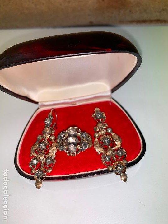 Joyeria: conjunto de pendientes y anillo del XIX en diamantes y oro 18 k - Foto 7 - 195233810