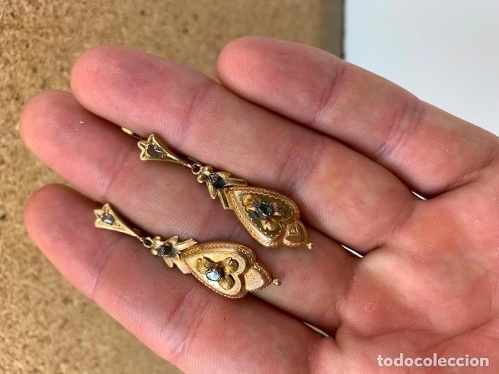 Joyeria: pendientes de oro 18 k del XIX - Foto 2 - 195234021