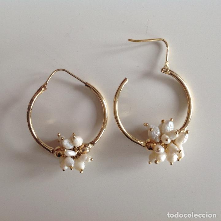 Joyeria: Aros de plata y chapados en oro. Perlas de Rio. Diámetro 2,5 cm. Nuevos - Foto 2 - 195272432