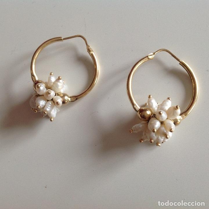 Joyeria: Aros de plata y chapados en oro. Perlas de Rio. Diámetro 2,5 cm. Nuevos - Foto 3 - 195272432