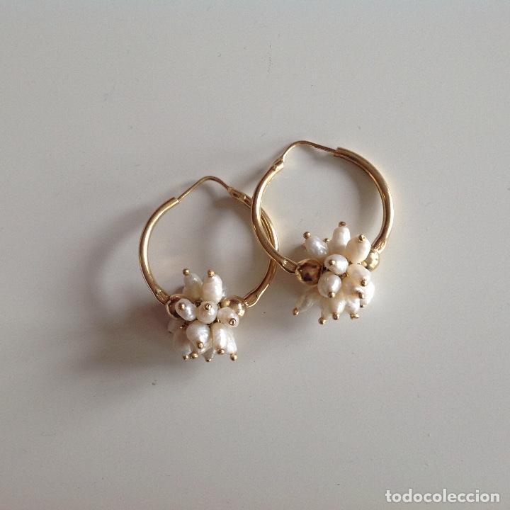 Joyeria: Aros de plata y chapados en oro. Perlas de Rio. Diámetro 2,5 cm. Nuevos - Foto 4 - 195272432