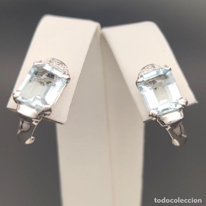 Joyeria: 18 quilates Oro blanco. Pendientes 0.04 ct Diamante y Aguamarina - Foto 2 - 195332333