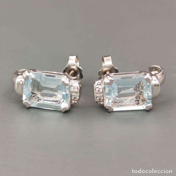 Joyeria: 18 quilates Oro blanco. Pendientes 0.04 ct Diamante y Aguamarina - Foto 3 - 195332333