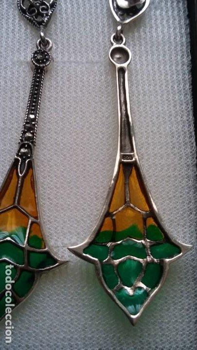 Joyeria: Hermosos pendientes plata de ley y esmaltes estilo art nouveau - Foto 2 - 195347576