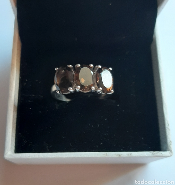 Joyeria: anillo plata cuarzo ahumado marcado tggg 925 . talla 16.9 milímetros. 3.28 gramos. .Usado en buen - Foto 5 - 195423618