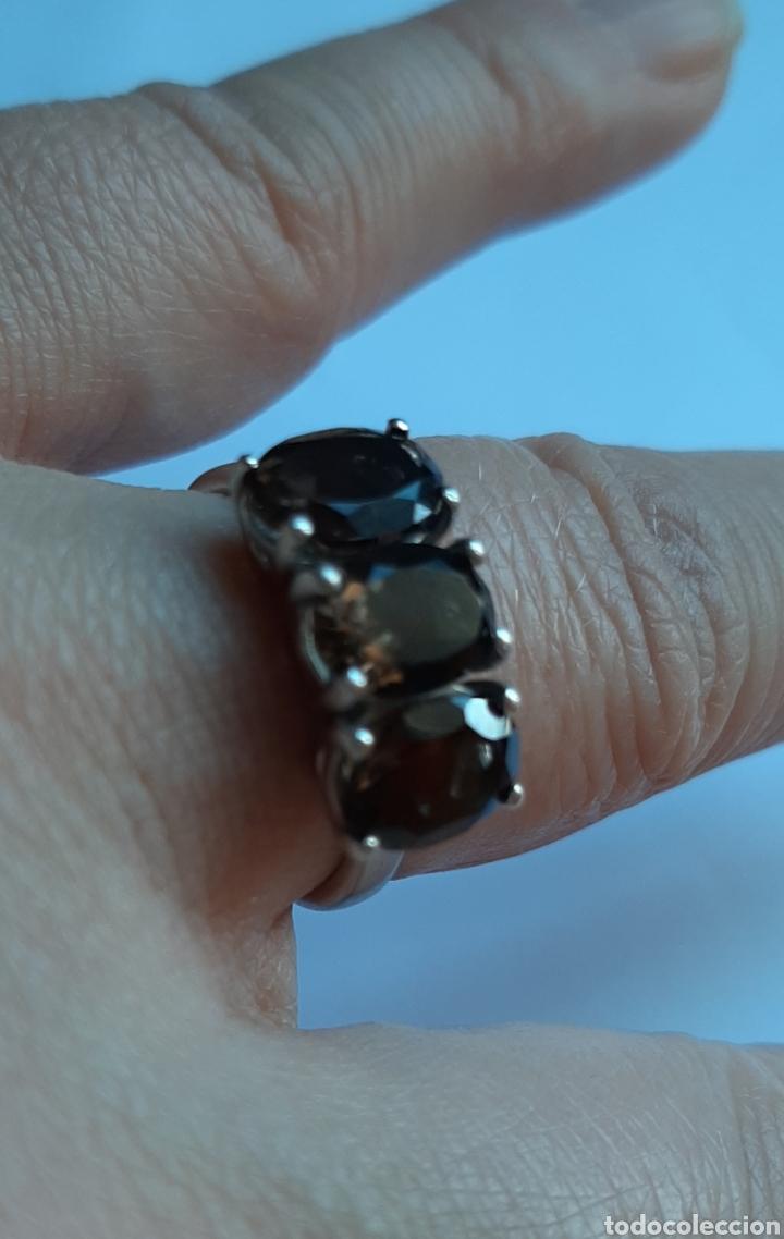 Joyeria: anillo plata cuarzo ahumado marcado tggg 925 . talla 16.9 milímetros. 3.28 gramos. .Usado en buen - Foto 6 - 195423618