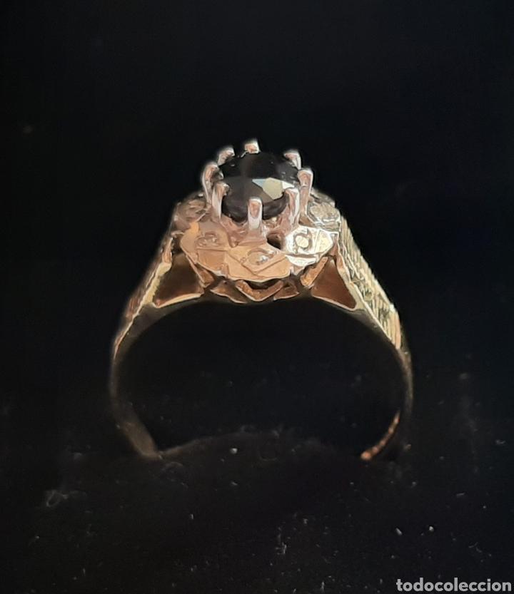 Joyeria: Anillo gema principal zafiro negro 6x7mm.gemas secundaria 8 diamantes . marcado 375 oro de 9kts. - Foto 3 - 195474691