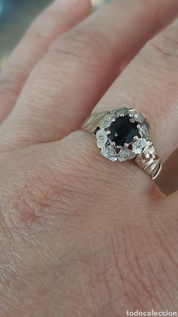 Joyeria: Anillo gema principal zafiro negro 6x7mm.gemas secundaria 8 diamantes . marcado 375 oro de 9kts. - Foto 4 - 195474691