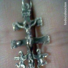 Joyeria: CARAVACA CARABACA CRUZ CRISTO ANGELITOS COLGANTE CREO PLATA 2,9 CMS ALTO APRX . Lote 195502602