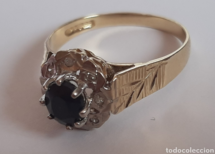 Joyeria: Anillo gema principal zafiro negro 6x7mm.gemas secundaria 8 diamantes . marcado 375 oro de 9kts. - Foto 6 - 195474691