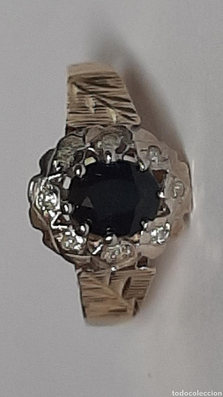 Joyeria: Anillo gema principal zafiro negro 6x7mm.gemas secundaria 8 diamantes . marcado 375 oro de 9kts. - Foto 7 - 195474691