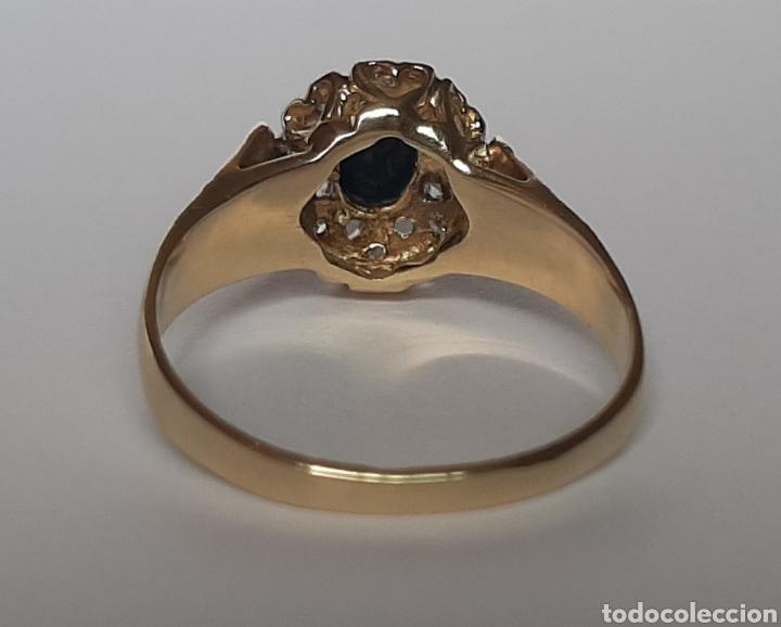 Joyeria: Anillo gema principal zafiro negro 6x7mm.gemas secundaria 8 diamantes . marcado 375 oro de 9kts. - Foto 9 - 195474691