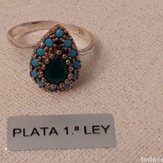 Joaillerie: ANILLO DE PLATA TURQUESA Y ESMERALDA. Lote 196285780
