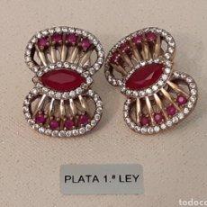 Joyeria: PENDIENTES DE PLATA TOPACIOS Y RUBÍES. Lote 196778803