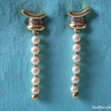 Joyeria: ELEGANTES PENDIENTES DE PERLAS, BRILLANTES Y ORO 18K. ELEGANT PEARL AND DIAMOND EARRINGS, 18K GOLD.. Lote 72029487