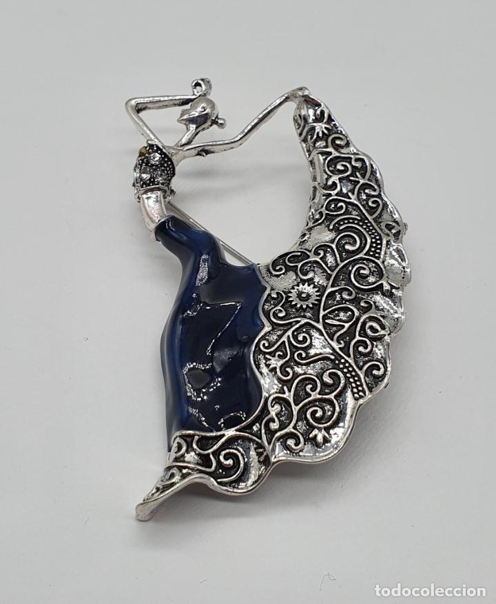 Joyeria: Original broche de bailarina de flamenco con baño de plata, esmaltes y circonitas talla brillante . - Foto 3 - 221788315