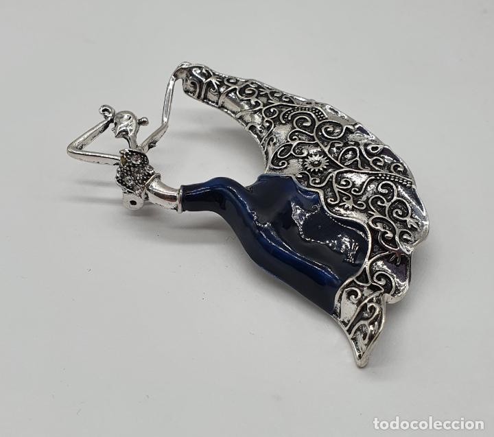 Joyeria: Original broche de bailarina de flamenco con baño de plata, esmaltes y circonitas talla brillante . - Foto 4 - 221788315