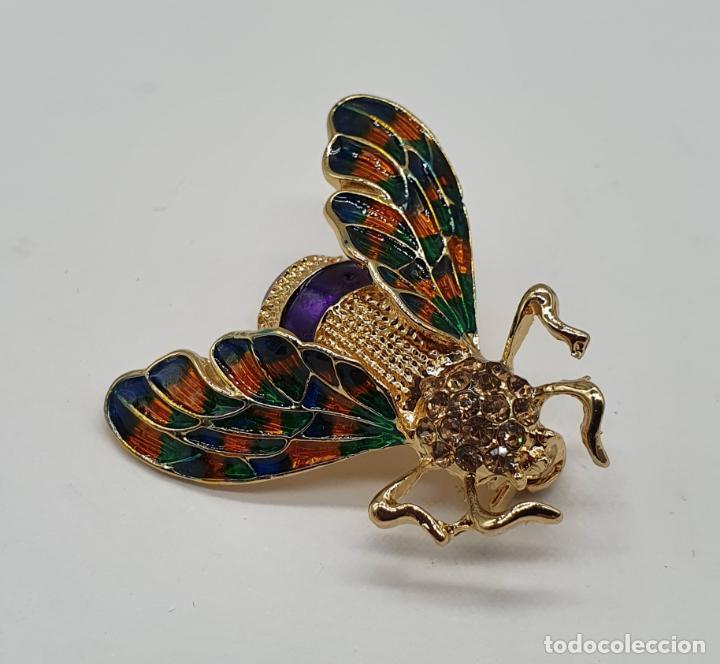 Joyeria: Broche de insecto estilo modernista con baño de oro, esmaltes al fuego y pedrería en tonos ámbar . - Foto 2 - 198034501