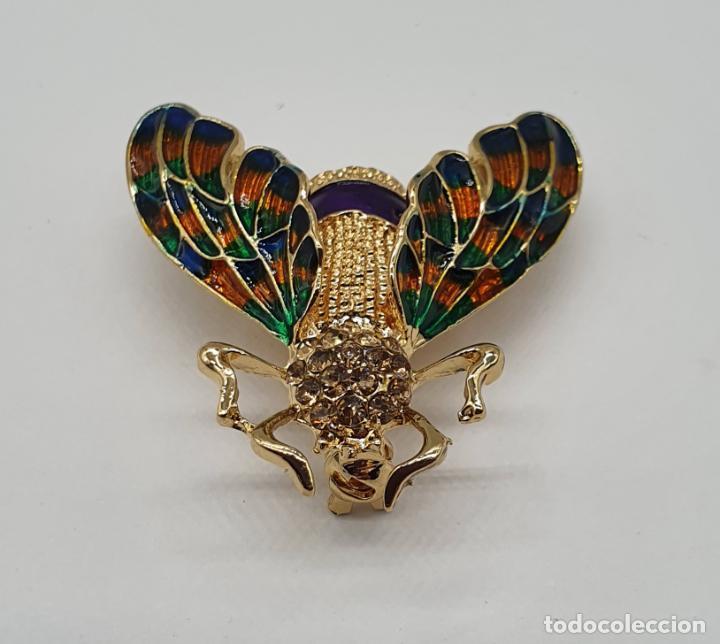 Joyeria: Broche de insecto estilo modernista con baño de oro, esmaltes al fuego y pedrería en tonos ámbar . - Foto 3 - 198034501