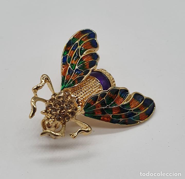 Joyeria: Broche de insecto estilo modernista con baño de oro, esmaltes al fuego y pedrería en tonos ámbar . - Foto 4 - 198034501