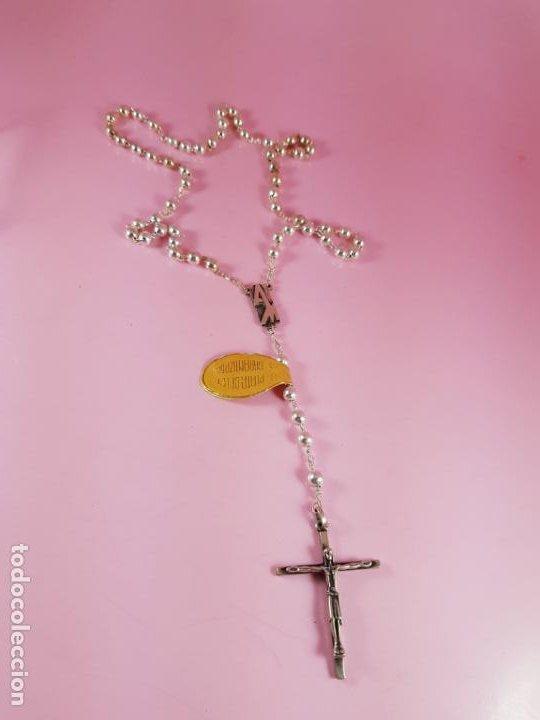 ROSARIO-PLATA DE LEY GARANTIZADA-ALCLU-ARTESANÍA RELIGIOSA-NUEVO-PERFECTOVER FOTOS-CAJA. (Joyería - Varios)