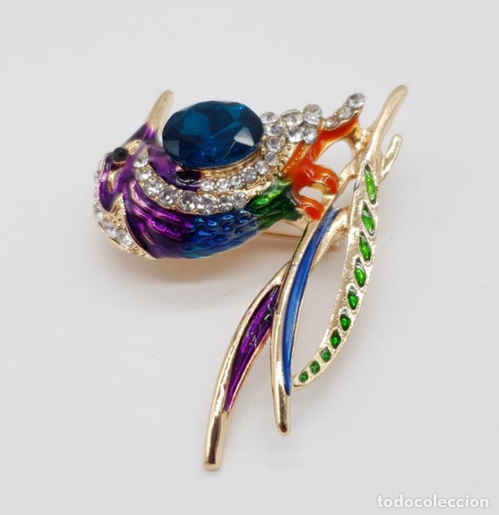 Joyeria: Precioso broche de ave estilo vintage chapado en oro, esmaltes al fuego y pedrería . - Foto 2 - 198738271