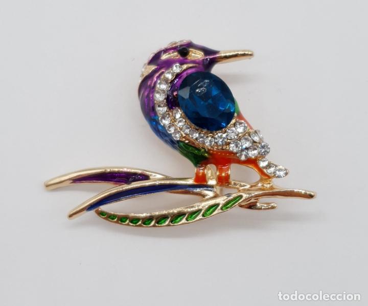 Joyeria: Precioso broche de ave estilo vintage chapado en oro, esmaltes al fuego y pedrería . - Foto 3 - 198738271