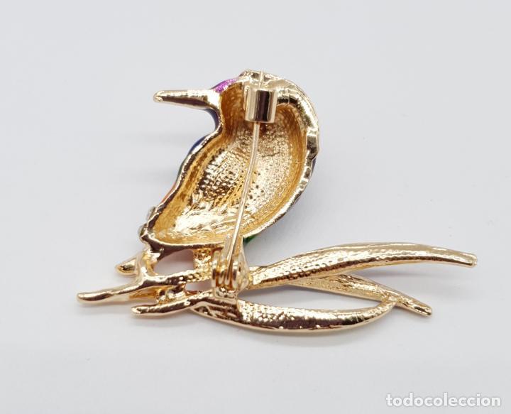 Joyeria: Precioso broche de ave estilo vintage chapado en oro, esmaltes al fuego y pedrería . - Foto 5 - 198738271