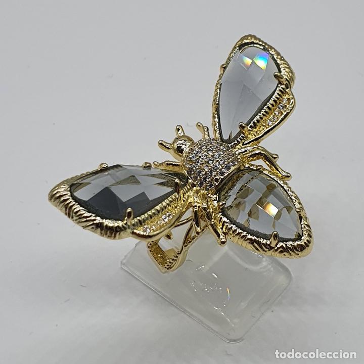 Joyeria: Gran anillo de lujo, insecto chapado en oro, con circonitas y cristal austriaco facetado ahumado . - Foto 2 - 265402534