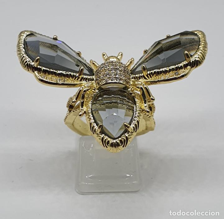Joyeria: Gran anillo de lujo, insecto chapado en oro, con circonitas y cristal austriaco facetado ahumado . - Foto 3 - 265402534