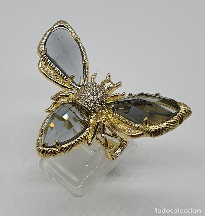 Joyeria: Gran anillo de lujo, insecto chapado en oro, con circonitas y cristal austriaco facetado ahumado . - Foto 4 - 265402534