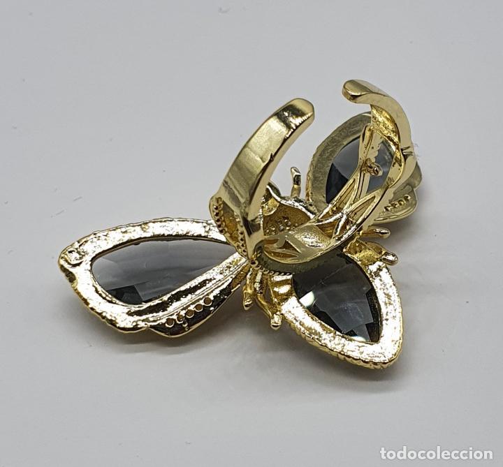Joyeria: Gran anillo de lujo, insecto chapado en oro, con circonitas y cristal austriaco facetado ahumado . - Foto 5 - 265402534